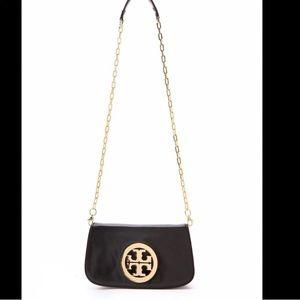 TORY BURCH Black Leather Crossbody Gold Emblem